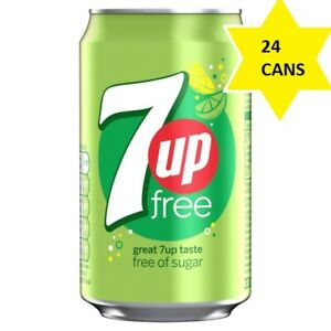 7UP Free Cans Sugar Free 24 x 330ml Refreshing Tasty Sparkling Drink Low Calorie