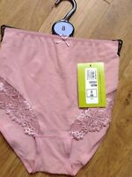 FULL BRIEFS SIZE 8 M&S ANTIQUE PINK WITH LACE ON FRONT OF LEGS COTTON RICH NEW
