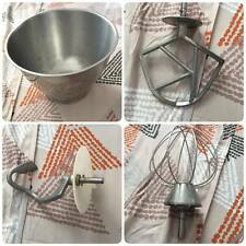 Kenwood Genuine Steel Mixing Bowl + 3 Used Kenwood Mixer Attachments
