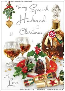 Jonny Javelin Special Husband Large Christmas Card Rum Christmas Pudding/XV002