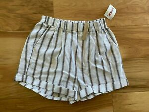 NWT Love Tree Linen Blend White/Brown Striped Pull-On w/Pockets Shorts Sz S