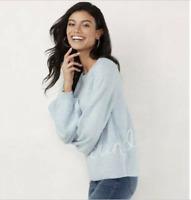 "NWT $50 Lauren Conrad Women's Size Large Blue ""Sunday"" Sweater Soft & Cozy"