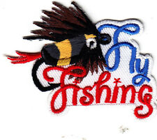 """FLY FISHING""  w/BAIT & HOOKS PATCH -FISHING - SPORTS -Iron On Embroidered Patch"