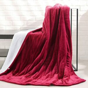 MaxKare Electric Blanket Heated Throw Flannel & Sherpa 50X60 NA-T1611B RED
