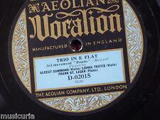 "78rpm 12"" SAMMONS TERTIS ST LEGER mozart trio Eb MENUETTO & RONDO only , D-01015"