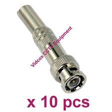 10x Solder-less Twist Spring BNC Connector Jack for Coaxial RG59 RG6 CCTV Camera