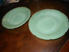 "Lot of 2 Fire King Oven Glass Jadeite Green Plate Plates 6"" Vintage"