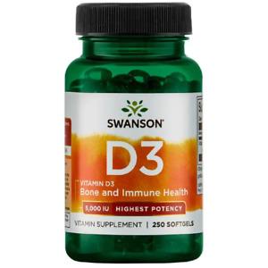 Vitamin D3 5000IU 250 Capsules Softgels Immune Health Swanson