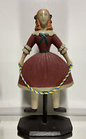 Sarreid Designs, Italian primitive folk art sculpture, girl with rope, 20""