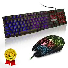 Professional Keyboard and Mouse Set Kit for Computer PC Gamer Rainbow Colors 3BC