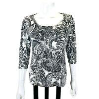 CHICO'S 1 Shirt Women's Size M/8 Black/White 3/4 Sleeve Paisley Cotton Blouse