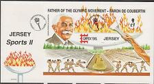 GB - JERSEY 1996 CAPEX '96 Father Olympic Games Baron de Coubertin £1 M/S751 FDC