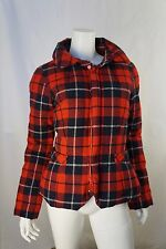 Y-3 Yohji Yamamoto Red Plaid Wool Zip Up Puffer Coat Jacket Sz S *MINT* $650