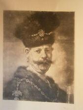 Planche gravure l'homme au bonnet de fourrure d'aprés Rembrandt Graveur Baude