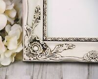 Shabby cottage chic ornate 11x14 hand-painted antique white wood picture frame