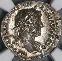 119 Hadrian NGC AU Roman Empire Denarius Clementia Lustrous (19032014C)