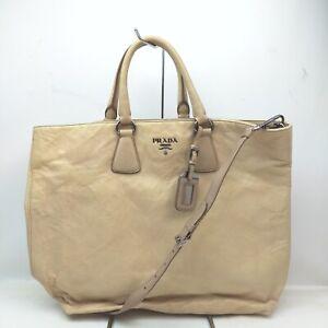 Prada Tote Bag  Beiges Leather 839992