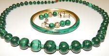 Vintage Malachite Jewelry Lot Necklace Earrings Bracelet