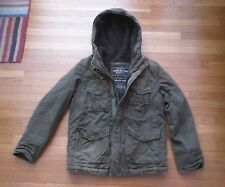 ABERCROMBIE & FITCH WILCOX FLEECE LINED HEAVY MILITARY COAT JACKET S ARMY GREEN