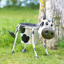 Nodding Cow Planter Metal Garden Ornament Plant Pot Decorative Sculpture Statue
