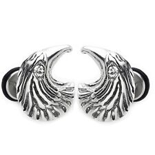 MENDINO Men's Stainless Steel Cubic Zirconia Eagle Head Back Screw Stud Earrings