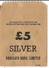 UNUSED BARCLAYS BANK LIMITED £5 silver PAPER COIN BAG - BEIGE
