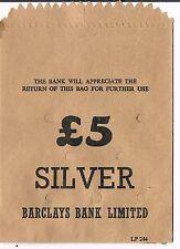 Sin Usar Barclays Bank Limited £ 5 Moneda De Plata Bolsa De Papel-Beige