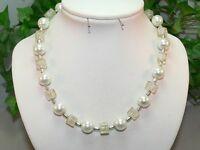 Halskette Perlenkette Würfelkette Würfel Cube weiß Perlen Glas Modeschmuck 350i