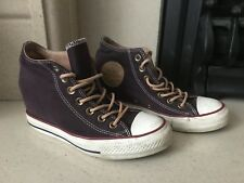 0698c9845d14 Converse All Star Plum Purple Mid Top Wedge Heel Inside Shoes Size 5