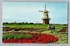 Holland Lake Michigan MI De Zwaan The Swan Dutch Windmill Postcard 1950s