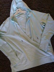 NWOT TEK GEAR XL  Hoodie Jacket Long Sleeve Cross Over Deep Vneck Thumb Holes