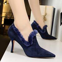 Women Tassel Pointy Toe Faxu Suede Shoes Pumps Slim High Heel Slip on Shoes Size
