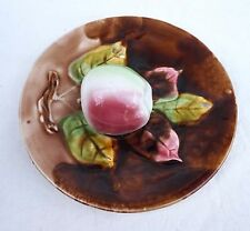 Apple French Trompe Oeil Plate Hand Painted Majolica Orchies 1900