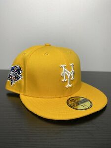 Hat Club Exclusive 7 1/4 Mets Taxi Fitted 2000 WS Patch Yellow Grey Bottom