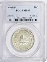 1936 Norfolk Silver Commemorative Half Dollar - PCGS MS-66 -Mint State 66