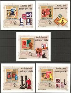 {225} Guinea Bissau 2009 Stamps on stamps Chess 5 S/S Deluxe MNH**