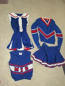 Vintage 4 Pc Red White & Blue Girl's Cheerleading Uniform | Size 32-34