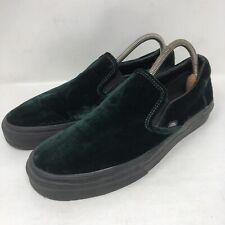 Vans Green Velvet Slip On Sneakers Shoes Size Womens 10 Mens 8.5