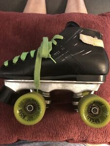 Speed Boss Roller Skates Dominion Canada Black With Green Wheels Vintage