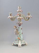 Porzellan Barock Leuchter Kerzenständer mit Putto türkis prunkvoll neu 9987236