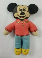"""VINTAGE Minature Cloth Mickey Mouse Doll 4"""" Tall"""