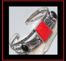 NEW - RED CORAL & BLACK ONYX ANTIQUE SILVER LEAF ACCENT CUFF BANGLE BRACELET