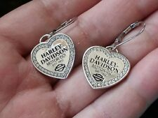 NEW-Harley-Davidson sterling silver 925 MOD Crystal Charm Drop Earrings/BOX