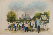 """Lithographie originale par Urbain HUCHET : """"Notre Dame et les bouquinistes"""""""