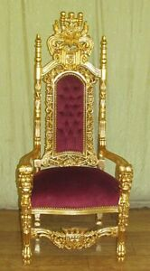 THRONE / ARMCHAIR BAROQUE STYLE PALACE THRONE GOLD / RED  # AS24