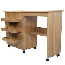 More details for sewing table folding craft cart wood desk with storage shelves lockable casters