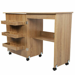 Sewing Table Folding Craft Cart Wood Desk with Storage Shelves Lockable Casters