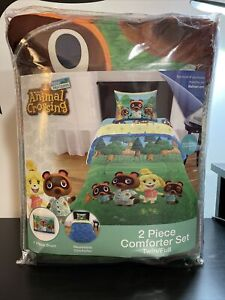 Animal Crossing Twin Full Reversible Comforter & Sham Set New Horizons