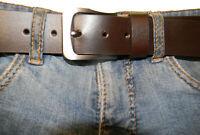 Men's Leather Belt Brown Casual Full Grain Buffalo 1.5 Inch Wide Belts