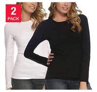 Felina Women's 2 Pack Long Sleeve Layering Crew Neck T-Shirts (Black/White) M